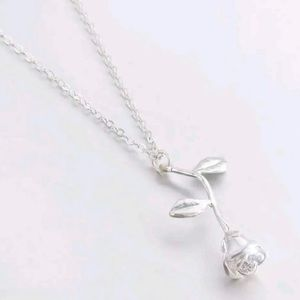 Boutique Silver Rose Pendant Necklace